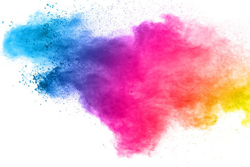 Multi color powder explosion isolated on white background.