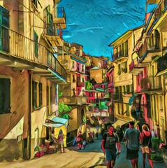View of small italian street, Cinque Terre. Old resort town. Tourism in Italy. Big size oil painting fine art. Modern impressionism drawn artwork. Creative artistic print for canvas, poster or paper.
