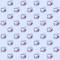 Pattern based on a kawaii illustration of a minimalist cute panda bear in tones pink, purple, lilac and blue. Pattern over a lilac pastel background.