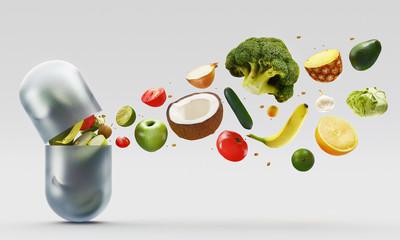 Capsula con vitamine, frutta e verdura