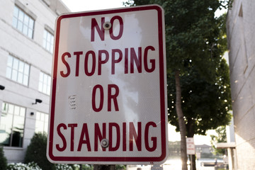 No Stopping Or Standing Road Sign Downtown