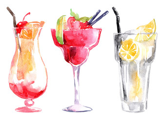 Hand drawn illustration of watercolor cocktails set.