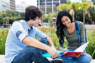 Junger Student lernt mit Austauschstudentin
