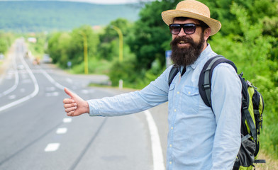 Picking up hitchhikers. Stop car. Man try stop car thumb up. Hitchhiking one of cheapest ways traveling. Hitchhikers risk being picked up by someone who is unsafe driver or personally dangerous
