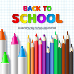 Back to school typography design with realistic colorful pencils and markers. Paper cut style letters on squared paper background. Vector illustration.