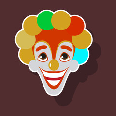 realistic paper sticker on theme humor cheerful clown