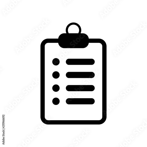 Medical Notes Symbol Of A List Paper On A Clipboard Icon Vector Icon