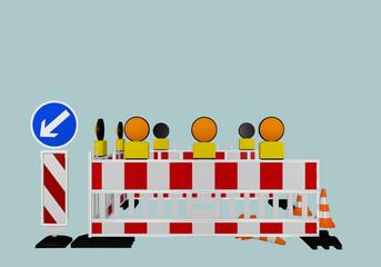 Baustellenabsperrung mit Richtungsweiser, Warnlampen und Verkehrshütchen. 3d render