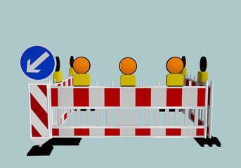 Baustellenabsperrung mit Richtungsweiser und Warnlampen. 3d render