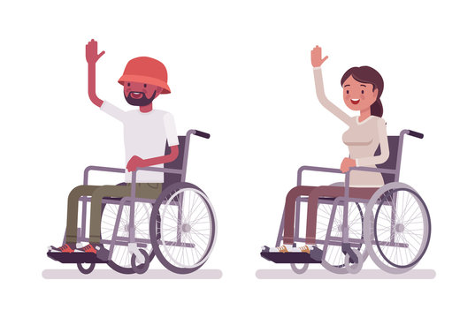 Male, female young wheelchair user high five gesture