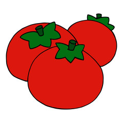 Cute tomato cartoon illustration isolated on white background for children color book