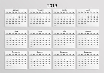 Calendar 2019. Calendar 3d realistic mock up 2019. Calendar grid on white background with shadow. Vector illustration AI10.