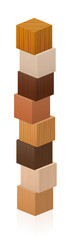 Wooden tower made of different wood samples - textured cubes from various trees. Isolated vector illustration on white background.
