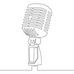 One continuous line retro microphone vector