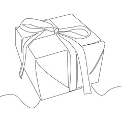 Continuous line drawing of gift box vector