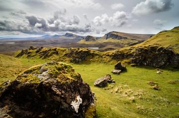 Isle of skye, Quiraing mountain, Scotland scenic landscape