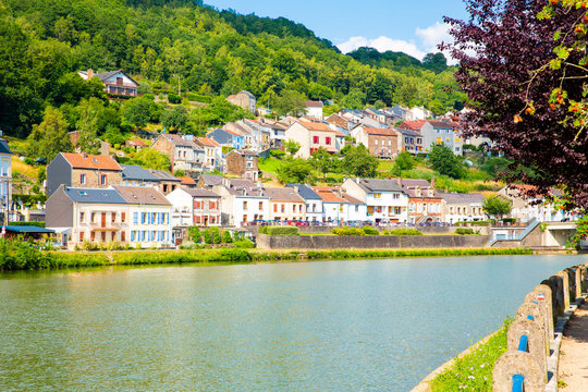 Beautiful Meuse valley and Monthermé in the French Ardennes, Grand Est, Champagne-Ardenne, France