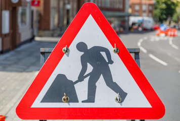 Sign of works in the middle of a street in the city of Norwich