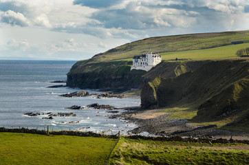 Castle on the cliff. Scottish landscape coast. Scotland, Great Britain