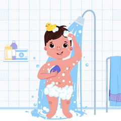 Little child boy character take a shower. Daily routine. Bathroom interior background