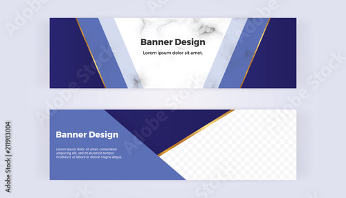 modern geometric web banners with blue triangular shapes and golden