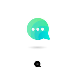 Chat icon, UI. Chat, communication, conversation, conversation, information exchange icon. Bubble symbol with shadow on a white background. Web button. Monochrome option.