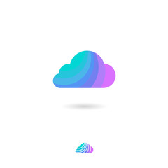 Cloud icon, UI. Storage, conservation, accumulation information or weather icon. Cloud symbol with shadow on a white background. Web button.