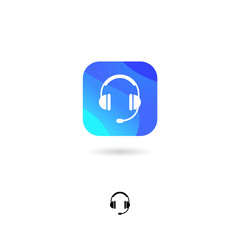 Headphones, music, communication UI icon. Call center emblem. Rounded square with headphones, on a white background. Web icon. Monochrome option.