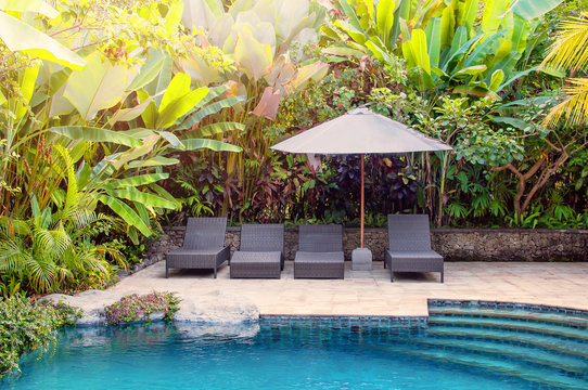 Private pool with deck chair, sun umbrella and exotic plants near the villa. Swimming pool background, Bali style