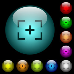 Camera crosshairs icons in color illuminated glass buttons