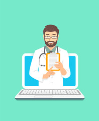 Online doctor concept. Medical internet consultation. Vector flat illustration. Healthcare consulting web service. Young man physician holds clipboard with treatment. Hospital support by computer