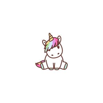 Cute unicorn sitting, vector illustration