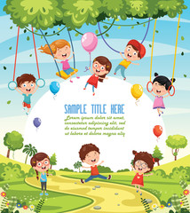 Vector Illustration Of Children Swinging