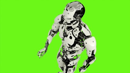 Robot android is presses the button. Realistic looped motion on green screen background. 3D Rendering.