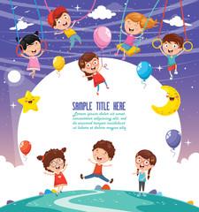 Vector Illustration Of Children Swinging