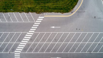 Aerial shot of an empty parking lot
