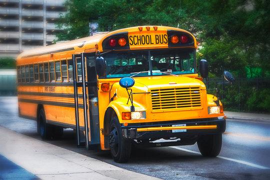 Parked american schoolbus