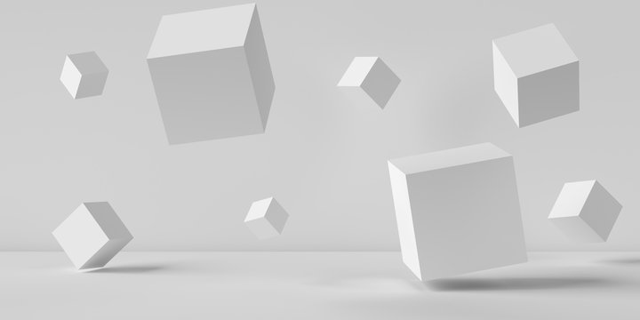 Suspended cubes on a white background. 3D image rendering.