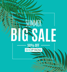 Abstract Summer Sale Background with Palm Leaves. Vector Illustration