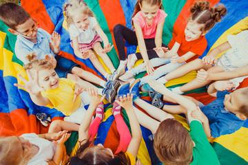 Kids holding hands together