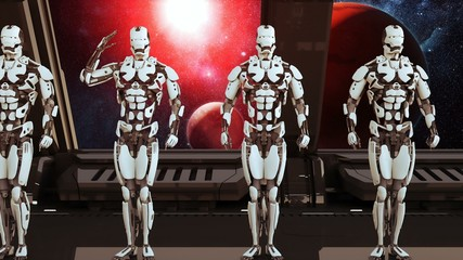 Robots soldiers on a spaceship salute against the background of the Universe and Planets. A futuristic concept of a UFO. 3D Rendering.