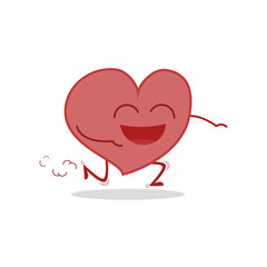 Vector illustration of a healthy and funny heart in cartoon style.
