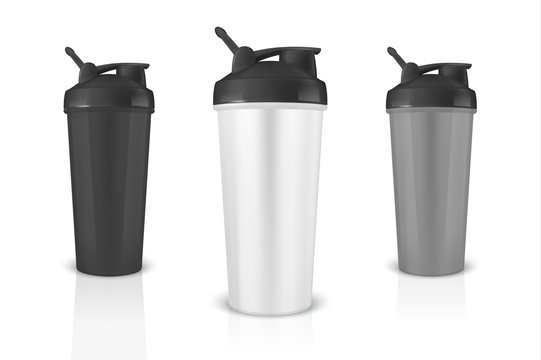 Vector realistic 3d white, black and gray empty glossy metal shaker for sports nutrition with black cap icon set closeup isolated on white background. Design template of packaging mockup for graphics