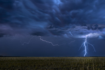 Lightning storm over field in Oklahoma