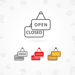 Open and Closed sign icon vector illustration