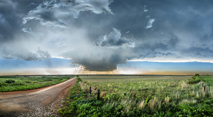 Tornadic Supercell over Tornado Alley at sunset
