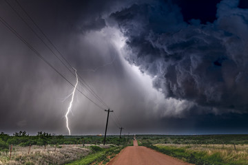 Lightning storm over field in Roswell New Mexico
