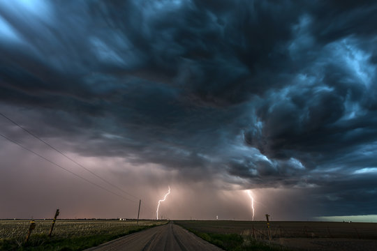 Lightning storm over field in Roswell New Mexico.