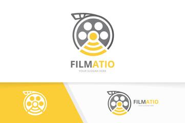 Vector movie and wifi logo combination. Cinema and signal symbol or icon. Unique film and radio logotype design template.