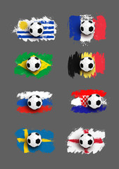 Set of Realistic soccer ball on flag of Uruguay, France, Brazil, Belgium, Russia, Croatia, Sweden, England made of brush strokes. Design element. Vector illustration. Isolated on gray background